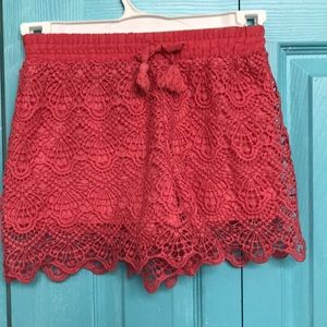 😍 bright pink booty shorts, floral lace cover😍